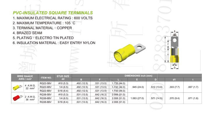 Pvc Insulated Square Terminals